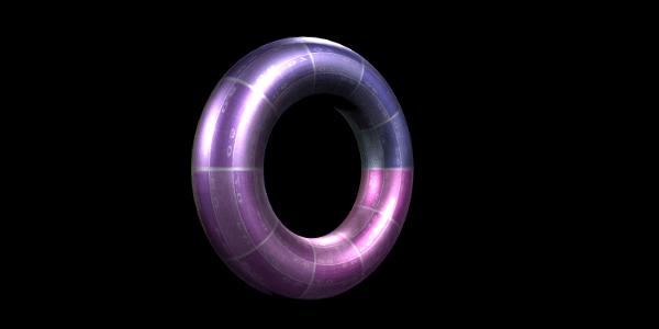 Purple Gradient 3D Circle on a Black Background