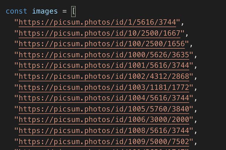 The images.js Array