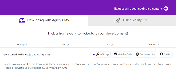 Highlighting Location of the API Keys Button in Agility CMS