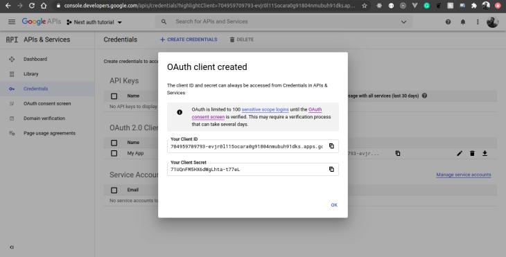google developer console oauth credentials
