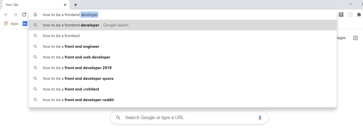 Omnibox being used as a search box