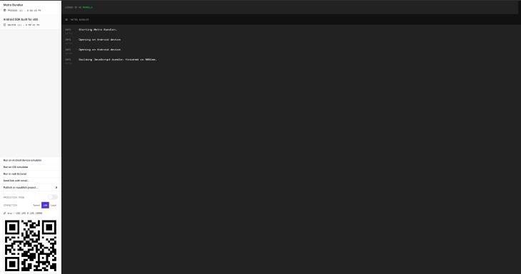 Metro Bundler Opened in Browser