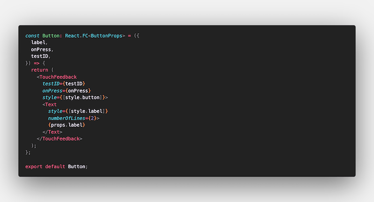 Code for the Button Component