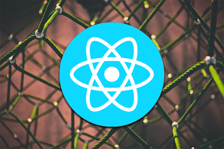 React logo against a green and brown background.