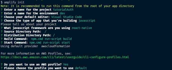 Running Amplify init Command