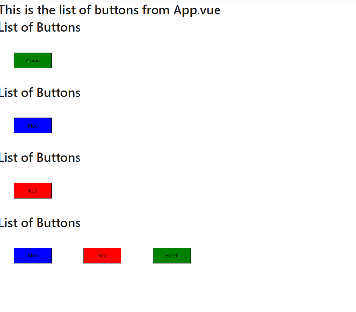 Our list of buttons now named as slots.