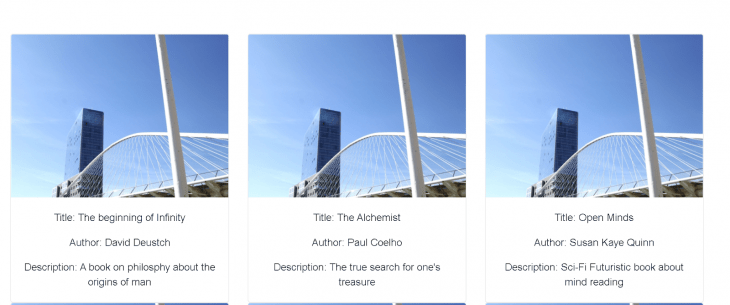 Our book.app example with images and book information.