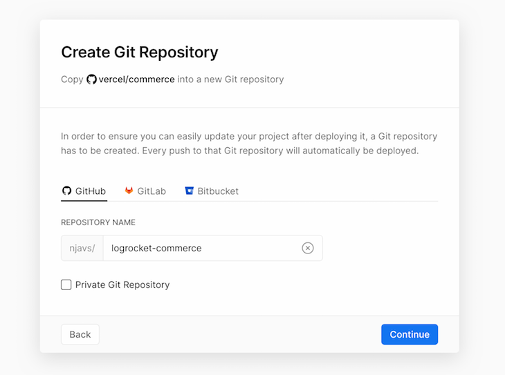 Create Git Repository with Integrations