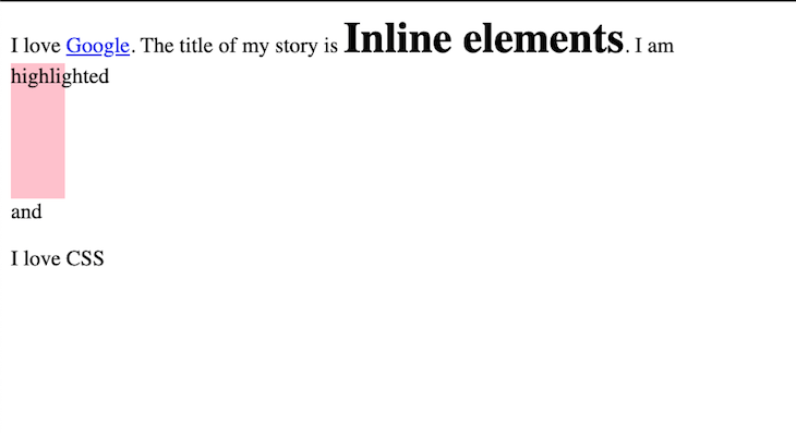 Example of Block Element with Specified Inline Display