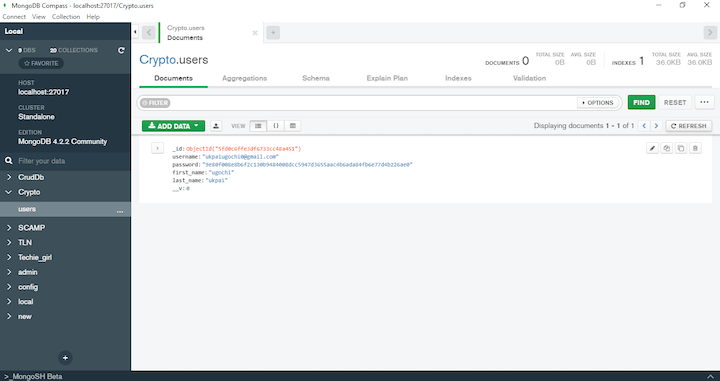 Node.js crypto in MongoDB Compass