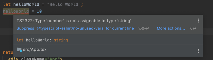 Highlighted Errors in TypeScript