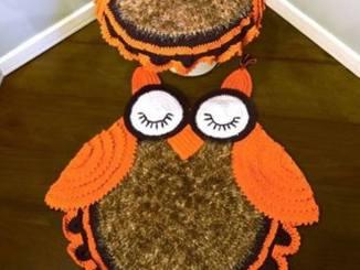 tapete de coruja de crochê