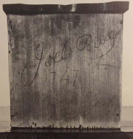 Joel Baily (3rd generation) signature on the drawer bottom of a Queen Anne secretary desk.