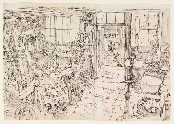 Interior of Workshop of Mr. Clapp, Cooper, Walton Street, Bath, 1940.