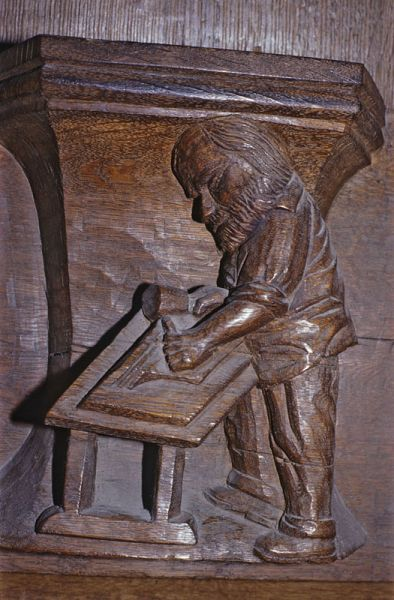 Working a misericord, 1480, Oude Kirk, Amsterdam.