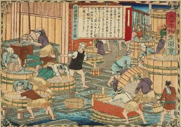 Dainihon-meisan-zue, sake-making, by Utagawa Hiroshige III (1842-1894).