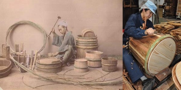 Left: Late 19th- to early-20th c. cooper. Right: a 21st c. cooper making a sake barrel.
