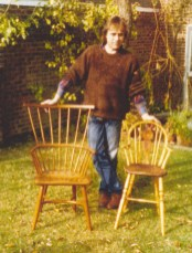Early chairs (and their maker). The comb back, in Yew and elm, was John Porritt's first effort; it took him three months, he wrote.