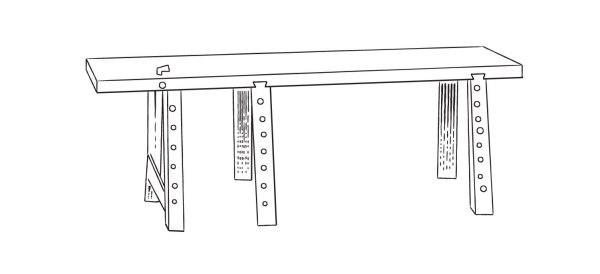 A line drawing of a Dutch workbench from the 16th century. It has six legs.