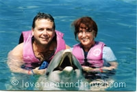Dolphins - Alana and Barry Swimming with the Dolphins in Blue Lagoon Island, Bahamas