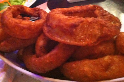 Thick Beer-Battered Onion Rings at Godfather's Burger Lounge in Belmont, CA