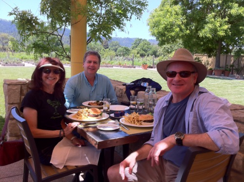 Alana, Barry and Gary enjoying lunch at Brix in Napa Valley - © LoveToEatAndTravel.com