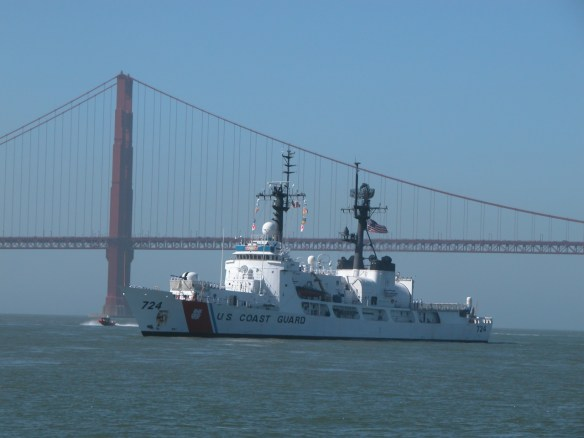 Coast Guard Ship in Parade of Ships sailing under Golden Gate Bridge in San Francisco during Fleet Week SF – © LoveToEatAndTravel.com
