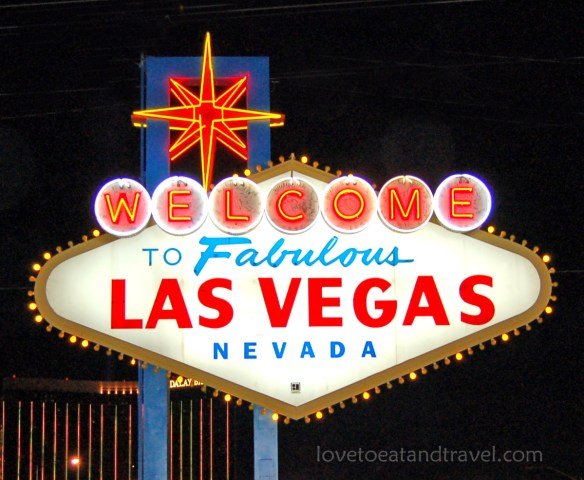Las Vegas Sign at Night - Copyright 2013 lovetoeatandtravel.com