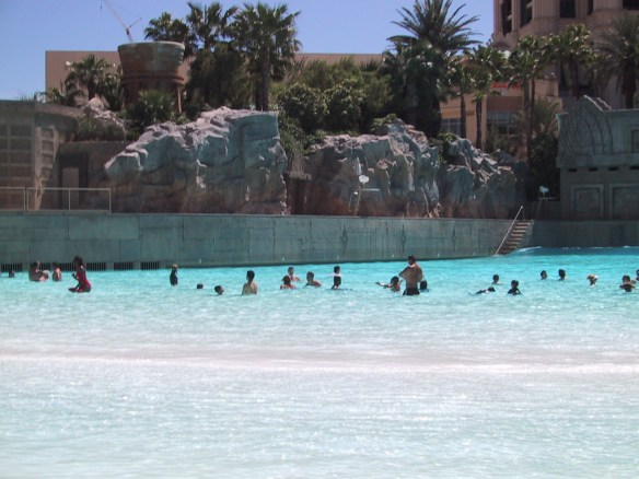 "Mandalay Bay ""Sand and Surf Beach"" Wave Pool in Las Vegas © LoveToEatAndTravel.com"