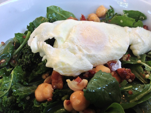 Morning Greens topped with Poached Egg at Bumble restaurant in Los Altos, CA © LoveToEatAndTravel.com