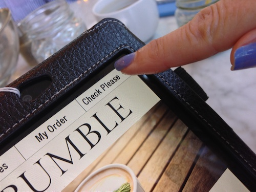 Order your food and drink at Bumble restaurant using an Android tablet © LoveToEatAndTravel.com