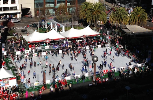 Union Square San Francisco Holiday Ice Rink in the Winter