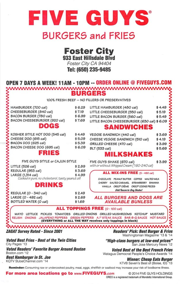 Five Guys Burger Menu