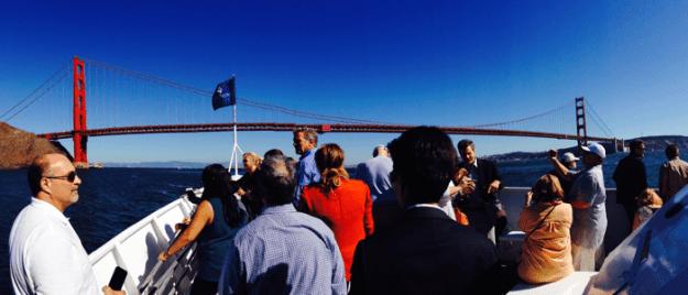 View of Golden Gate Bridge while cruising San Francisco Bay during Fleet Week – © LoveToEatAndTravel.com