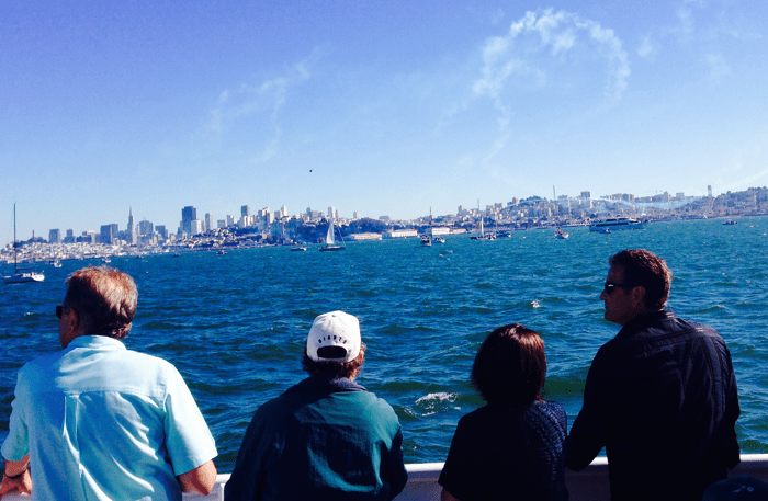View of San Francisco skyline and Blue Angels Air Show while cruising San Francisco Bay during Fleet Week – © LoveToEatAndTravel.com