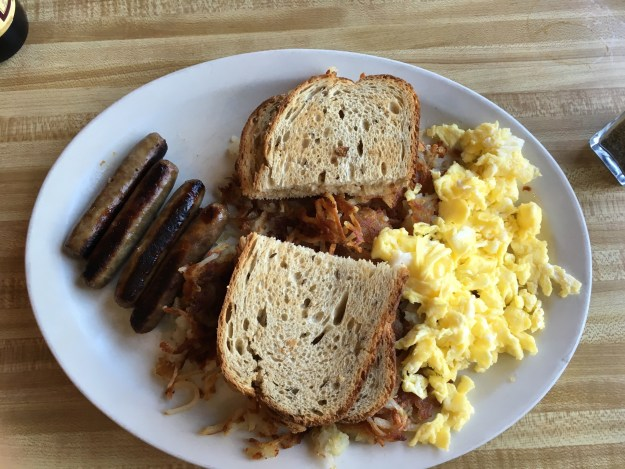 Scrambled Eggs, Chicken Apple Sausage with crispy Hash Browns and rye toast at Hwy 92 Cafe – © LoveToEatAndTravel.com