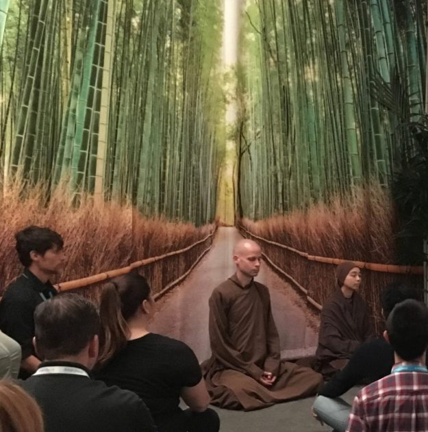 Guided Mindfulness Meditation with monks at Dreamforce conference in SF - photo © Love to Eat and Travel