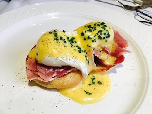 Eggs Benedict breakfast at The Dower Restaurant at The Royal Crescent Hotel & Spa in Bath, UK - photo © Love to Eat and Travel