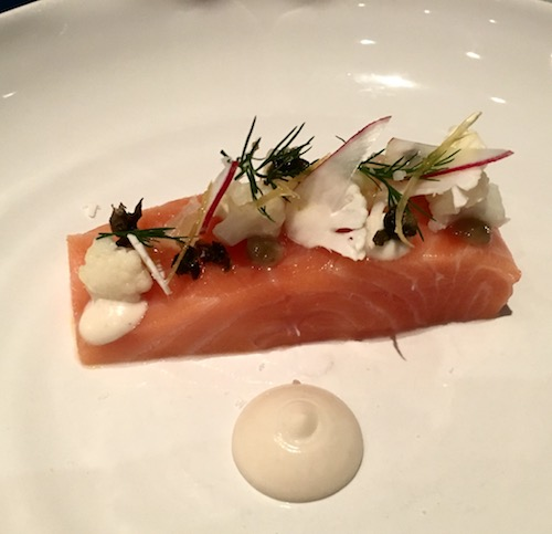 Hay Smoked Loch Duarte Salmon, Cauliflower, Lemon, Radish appetizer at The Dower Restaurant at The Royal Crescent Hotel & Spa in Bath, UK - photo © Love to Eat and Travel