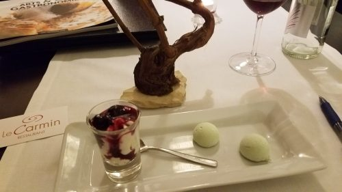 Le Carmin yogurt and cherries dessert - Photo Credit: Deborah Grossman