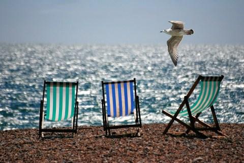 deckchairs on the beach