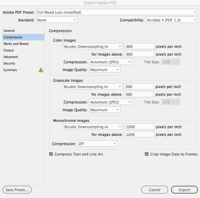 InDesign PDF export Compression settings