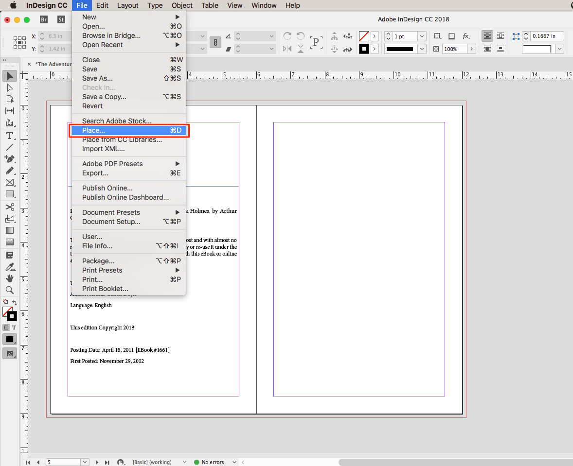 InDesign Place command from File Menu
