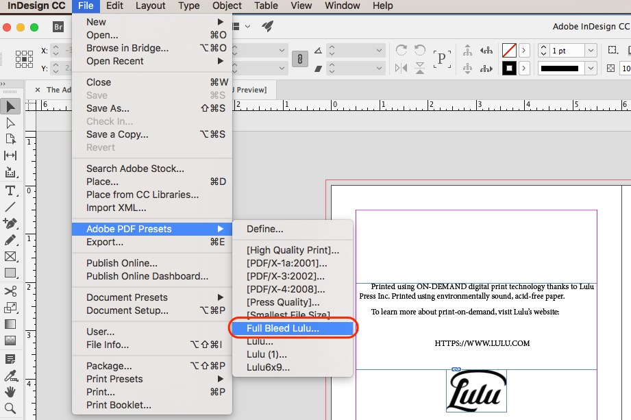 Export a PDF from InDesign using Lulu Job Options presets