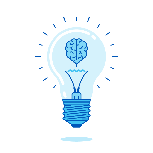 Blue, graphic lightbulb with brain as filament