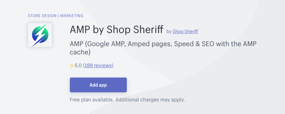 Shopify AMP App by Shop Sheriff to help improve mobile view for your book selling web store