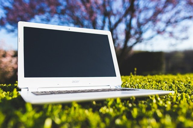 laptop in the grass for some reason