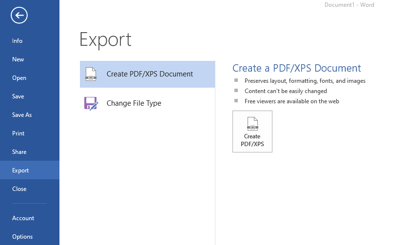 MS Word Export to PDF Menu