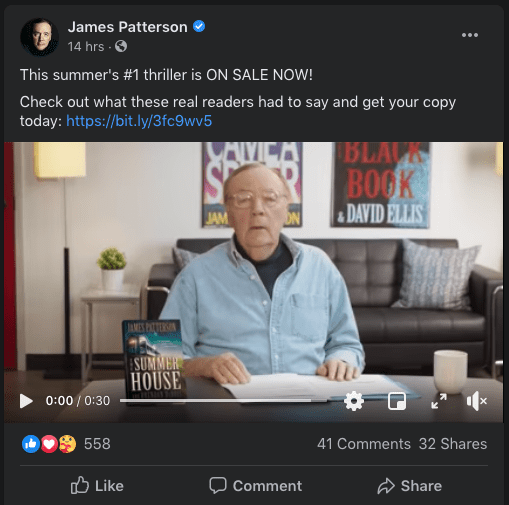 James Patterson, hard social sell example