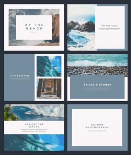 Canva Photo Book template featuring beach scenes